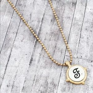 Jewelry - Worn Two-Tone Monogram Initial Letter F Necklace